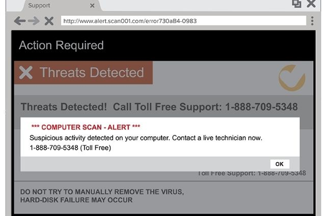 fraud pop-up warnings in a computer screen